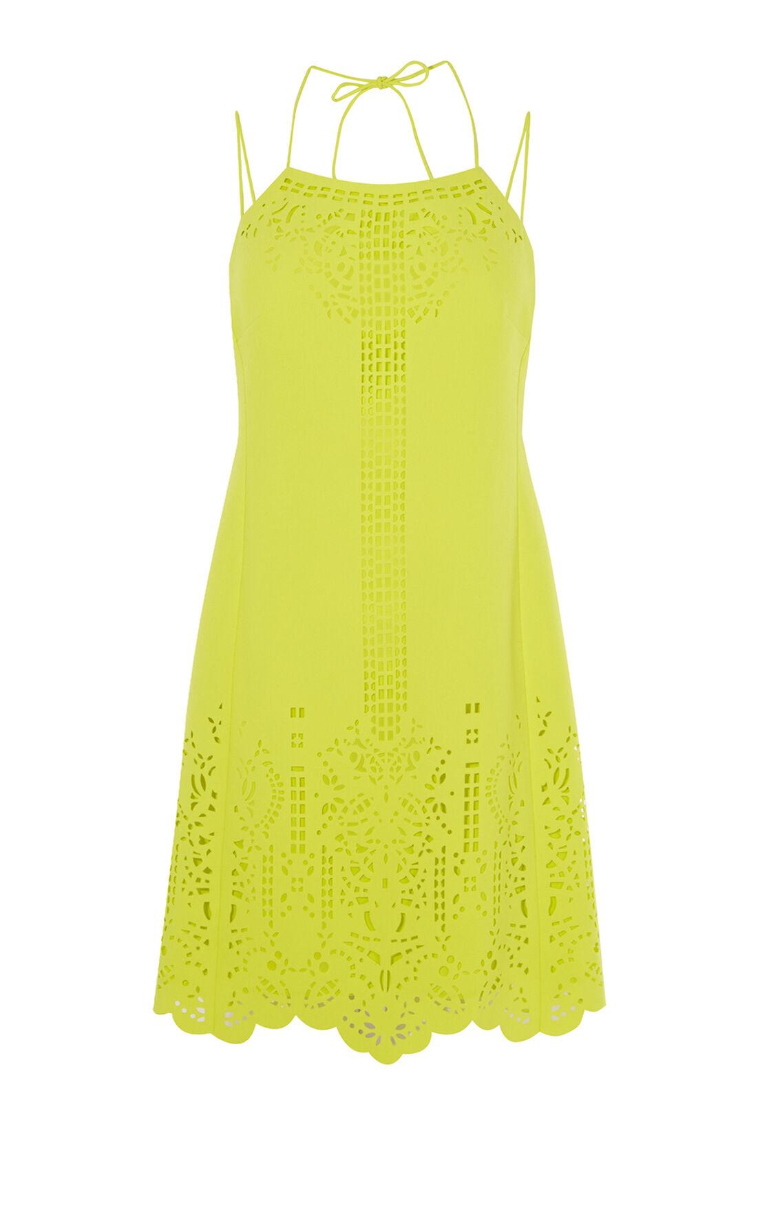 Karen Millen, LASER-CUTWORK DRESS Lime 0
