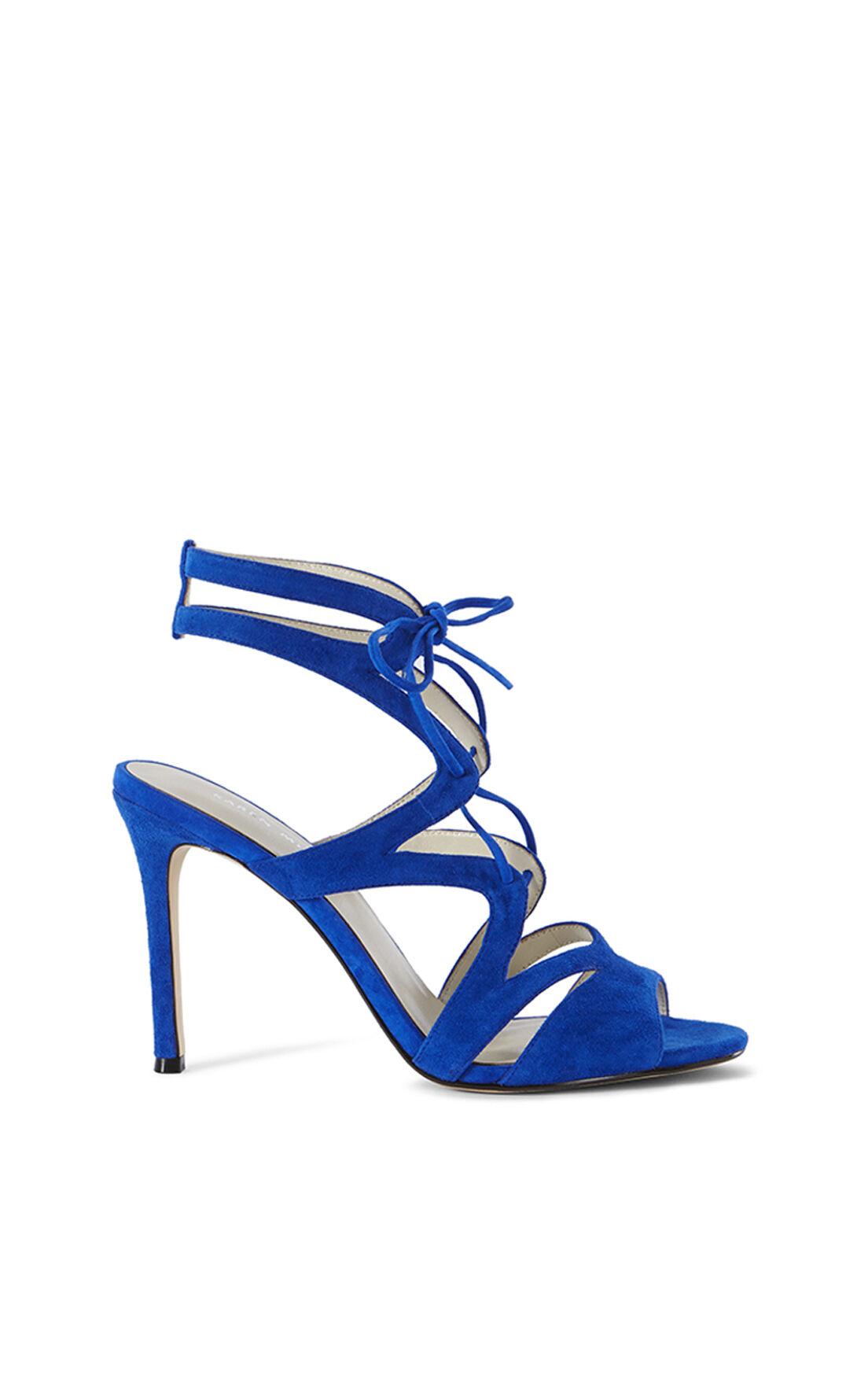 Karen Millen, SUEDE LACE-UP SANDAL Blue 0