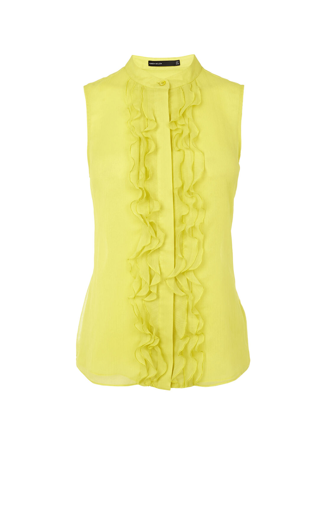 Karen Millen, RUFFLE FRONT SLEEVELESS BLOUSE Yellow 0