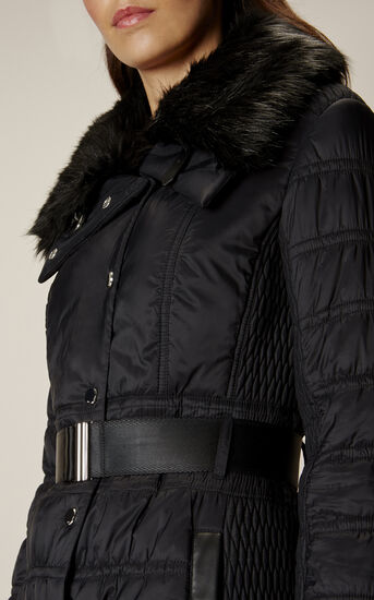 Karen Millen, BELTED PADDED COAT Black 8