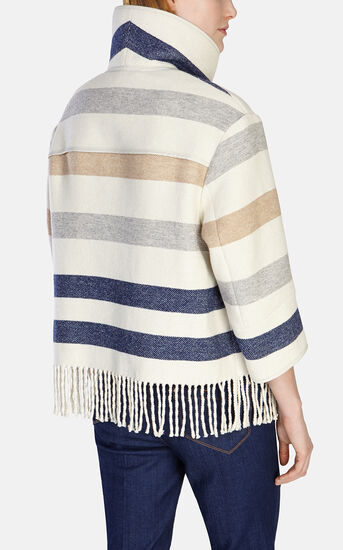 Karen Millen, STRIPED WOOL FRINGED CAPE Multi 3