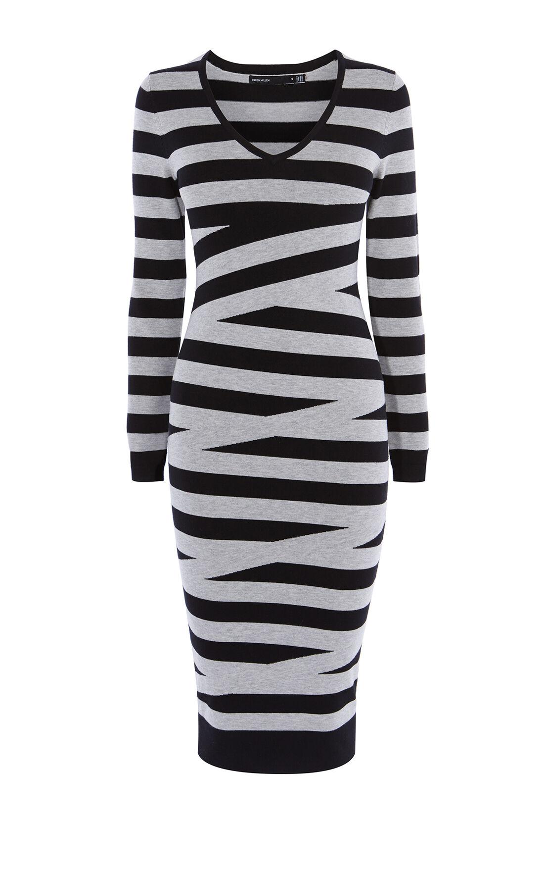Karen Millen, CROSSHATCH DRESS Black/Multi 0