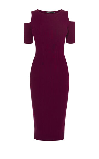 Karen Millen, COLD-SHOULDER STRIPE DRESS Dark Red 0