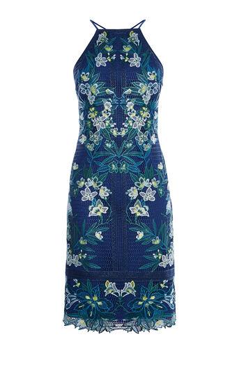 Karen Millen, TROPICAL-EMBROIDERY LACE DRESS Blue/Multi 0