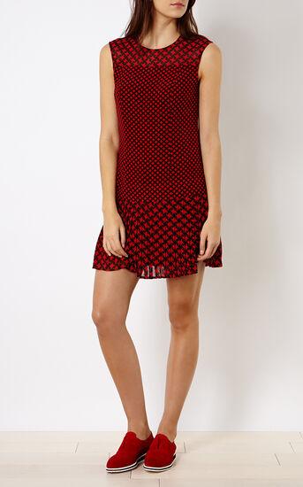 Karen Millen, PRINTED PLEAT DRESS Red/Multi 1