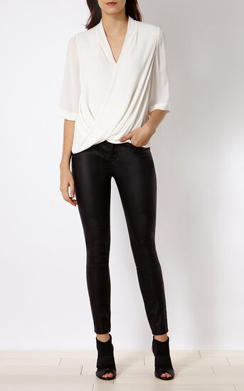 Karen Millen, DENIM-COATED SKINNY JEAN Black 1