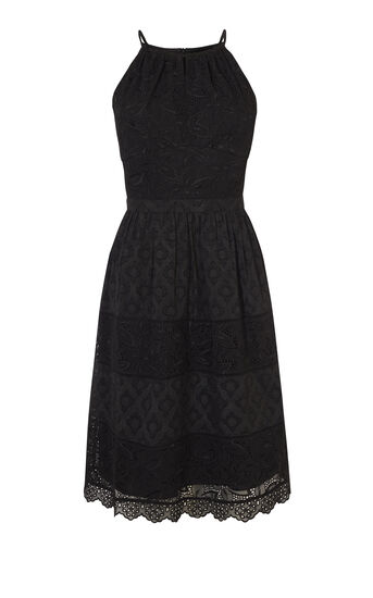 Karen Millen, BRODERIE MIDI DRESS Black 0
