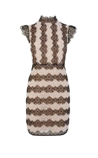 Karen Millen, LACE STRIPE DRESS Blk&Wht 0