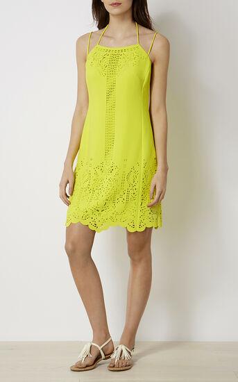 Karen Millen, LASER-CUTWORK DRESS Lime 1