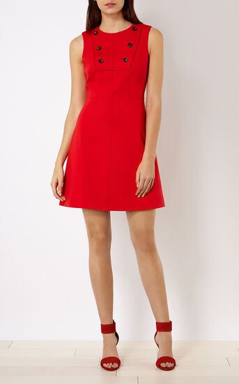 Karen Millen, BUTTON-DETAIL MINIDRESS Red 1