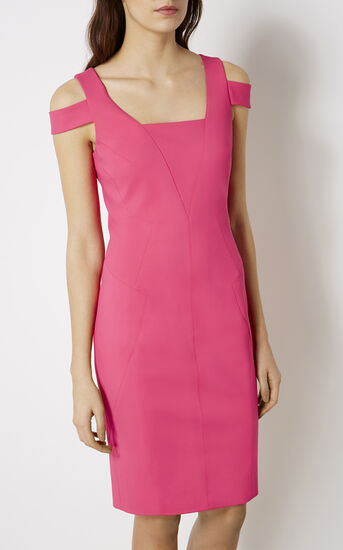 Karen Millen, COTTON PENCIL DRESS Pink 2