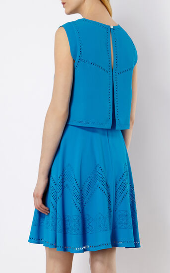 Karen Millen, LASER-CUT DRESS Blue 3