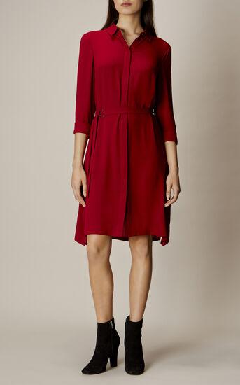 Karen Millen, ASYMMETRIC SHIRT DRESS Dark Red 1