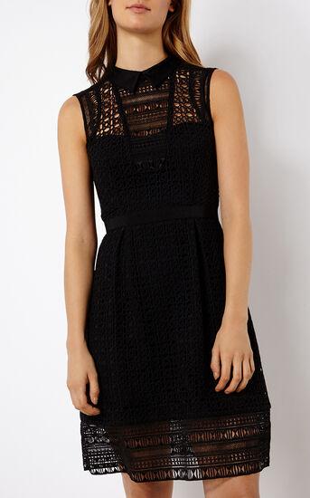 Karen Millen, BRODERIE SHIRT DRESS Black 2
