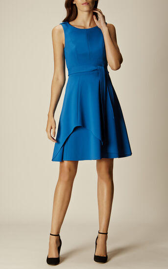 Karen Millen, ASYMMETRIC FLARED DRESS Blue 1