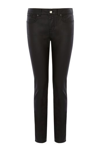 Karen Millen, DENIM-COATED SKINNY JEAN Black 0