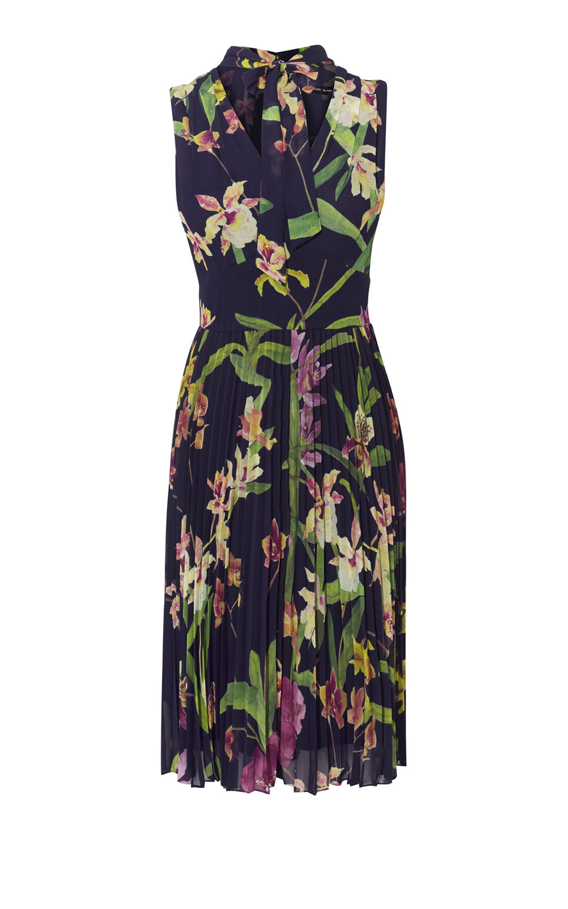 Karen Millen, ORCHID-PRINT PLEATED DRESS Multicolour 0