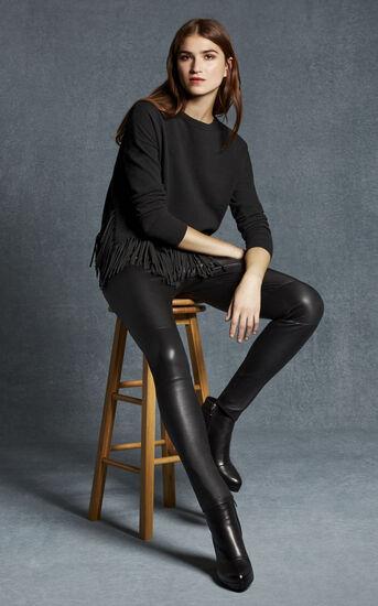 Karen Millen, BLACK LEATHER LEGGINGS Black 1