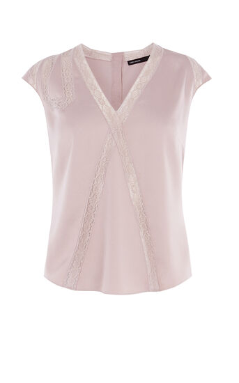 Karen Millen, LACE-TRIM TOP Nude 0