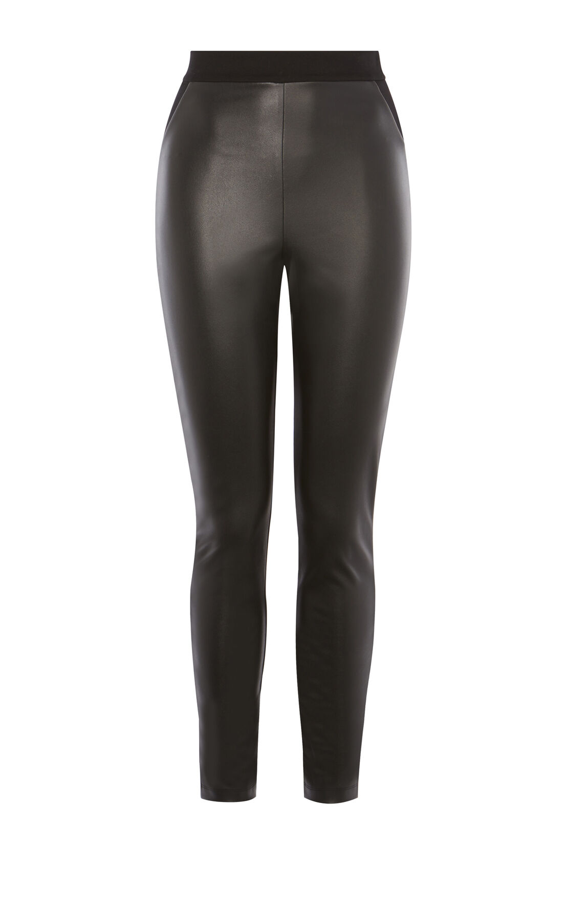 Karen Millen, FAUX-LEATHER AND JERSEY LEGGIN Black 0