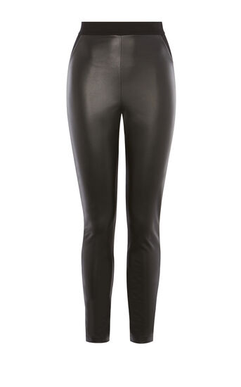 Karen Millen, FAUX-LEATHER AND JERSEY LEGGING Black 0