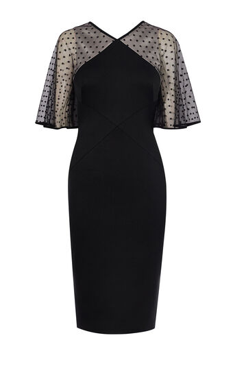 Karen Millen, BLACK AND DOT TULLE DRESS Black 0