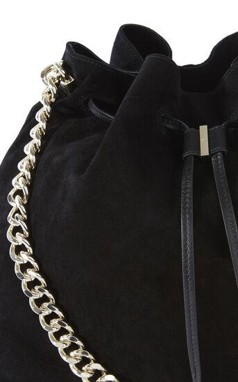 Karen Millen, SUEDE DRAWSTRING BAG Black 5