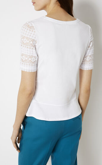 Karen Millen, TY153 BEAUTIFUL TOP WITH LACE White 3
