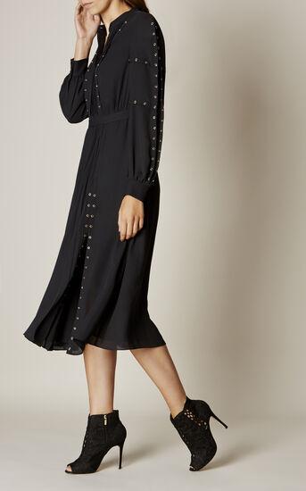 Karen Millen, STUDDED SHIRT DRESS Black 2