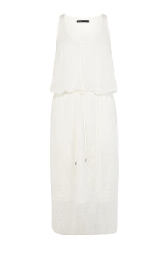 Karen Millen, Embroidered soft voile drawstr White 0