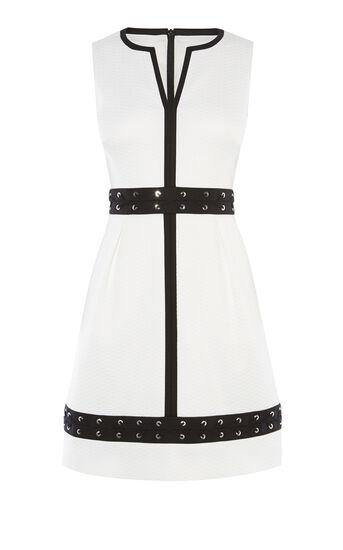 Karen Millen, LACING DETAIL DRESS White/Multi 0