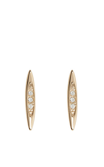Karen Millen, CRYSTAL DROP STUD EARRINGS Gold Colour 0