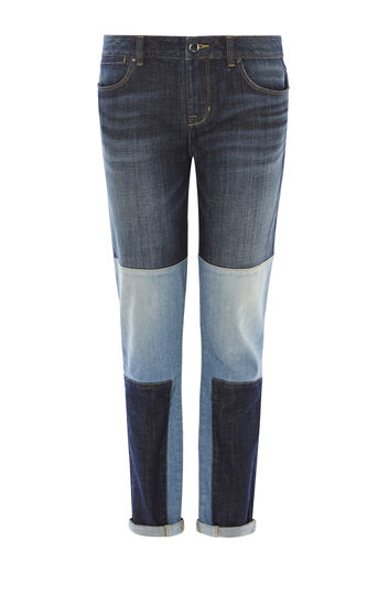 Karen Millen, Jeans in Patchwork-Optik Denim 0