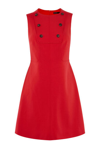 Karen Millen, BUTTON-DETAIL MINIDRESS Red 0