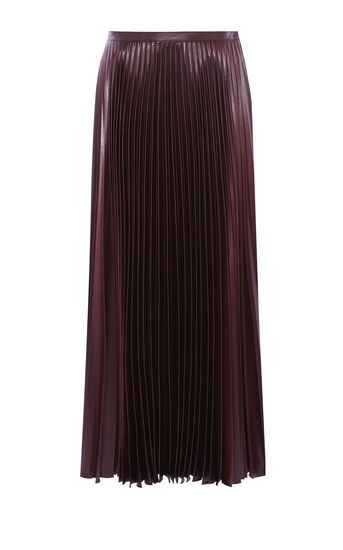 Karen Millen, WETLOOK PLEAT MAXI SKIRT Aubergine 0