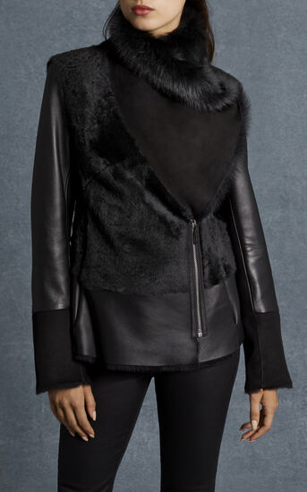 Karen Millen, BLACK SHEARLING JACKET Black 2