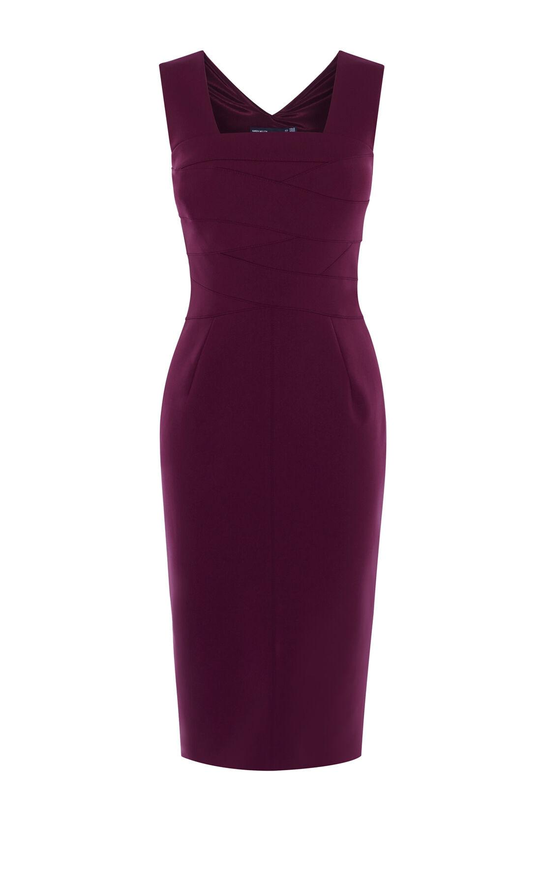 Karen Millen, SQUARE NECKLINE PENCIL DRESS Aubergine 0
