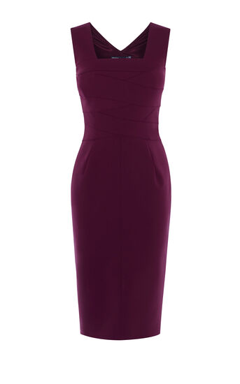 Karen Millen, SQUARE NECKLINE PENCIL DRESS Aubergine 0