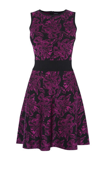 Karen Millen, FLORAL KNIT DRESS Pink/Multi 0