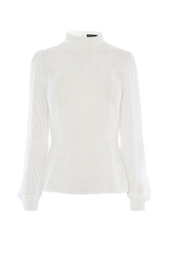 Karen Millen, HIGH-NECK CHEVRON BLOUSE Ivory 0