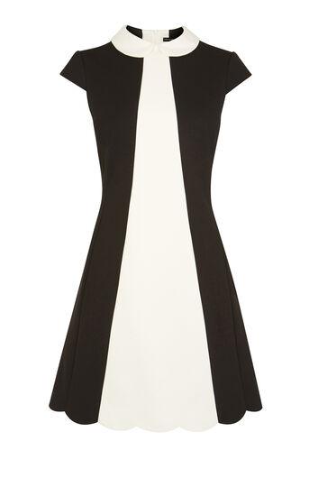 Karen Millen, SCALLOPED MINI DRESS Blk & Ivry 0