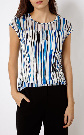 Karen Millen, STRIPED T-SHIRT Blue/Multi 2