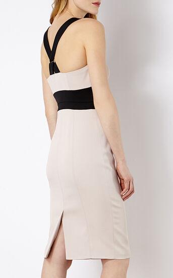 Karen Millen, CROSS-OVER STRAP DRESS Nude 3
