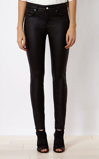 Karen Millen, DENIM-COATED SKINNY JEAN Black 2