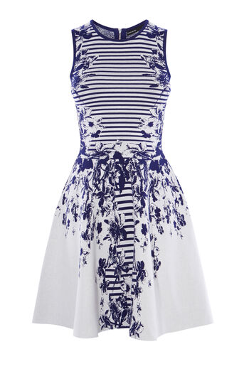 Karen Millen, FLORAL KNITTED DRESS Blue/Multi 0