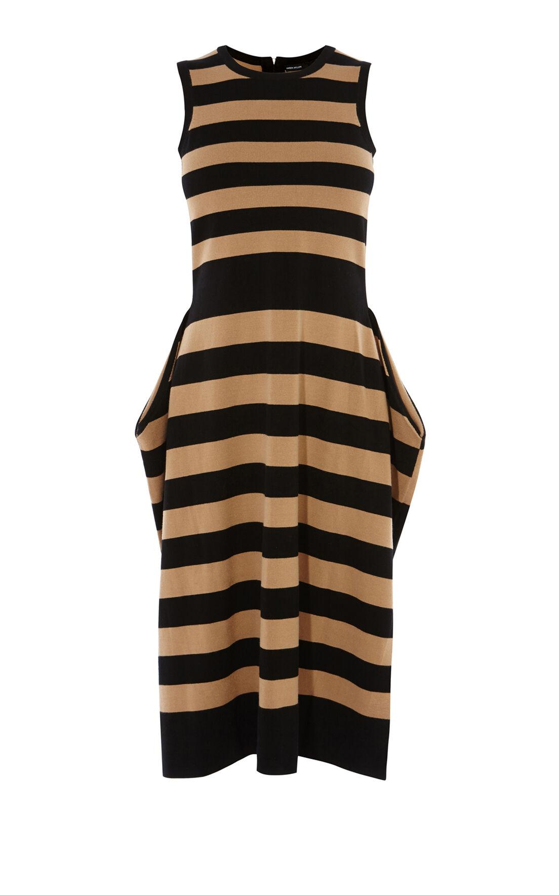Karen Millen, STRIPED KNIT DRESS Blk/Multi 0
