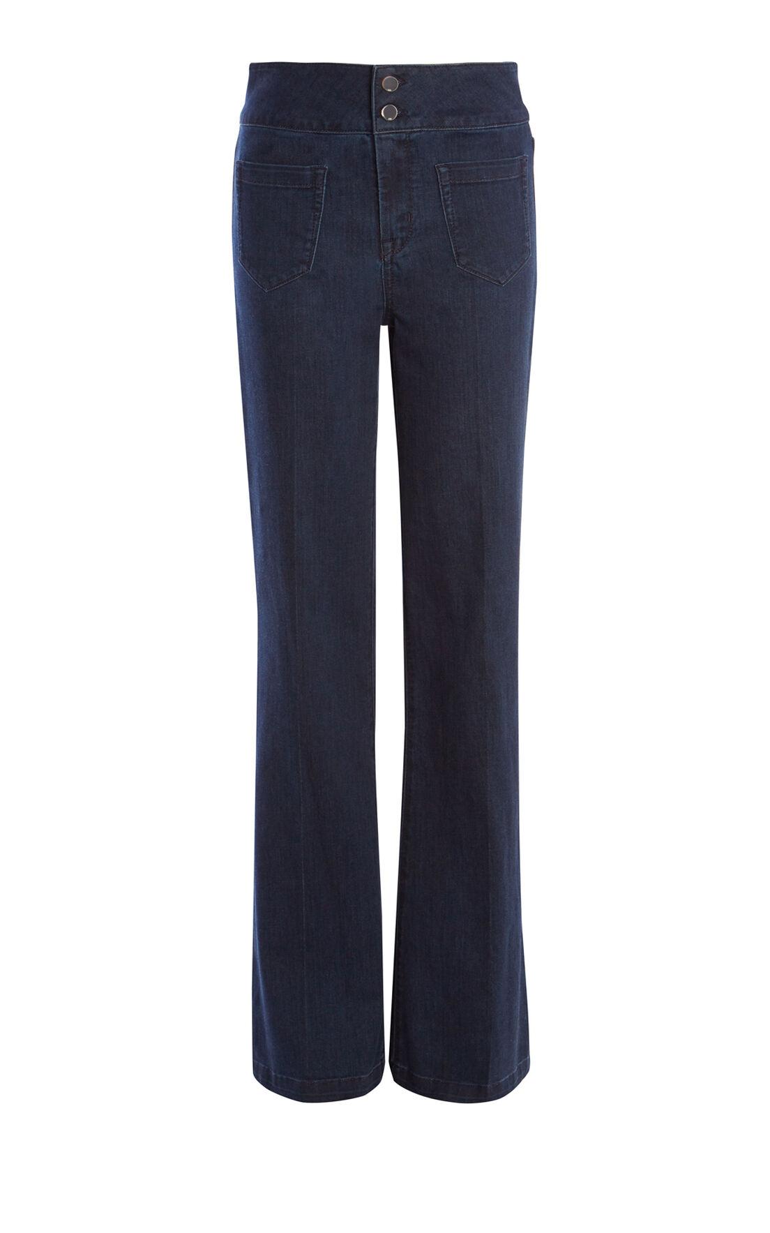 Karen Millen, HIGH-WAISTED FLARED JEAN Blue 0