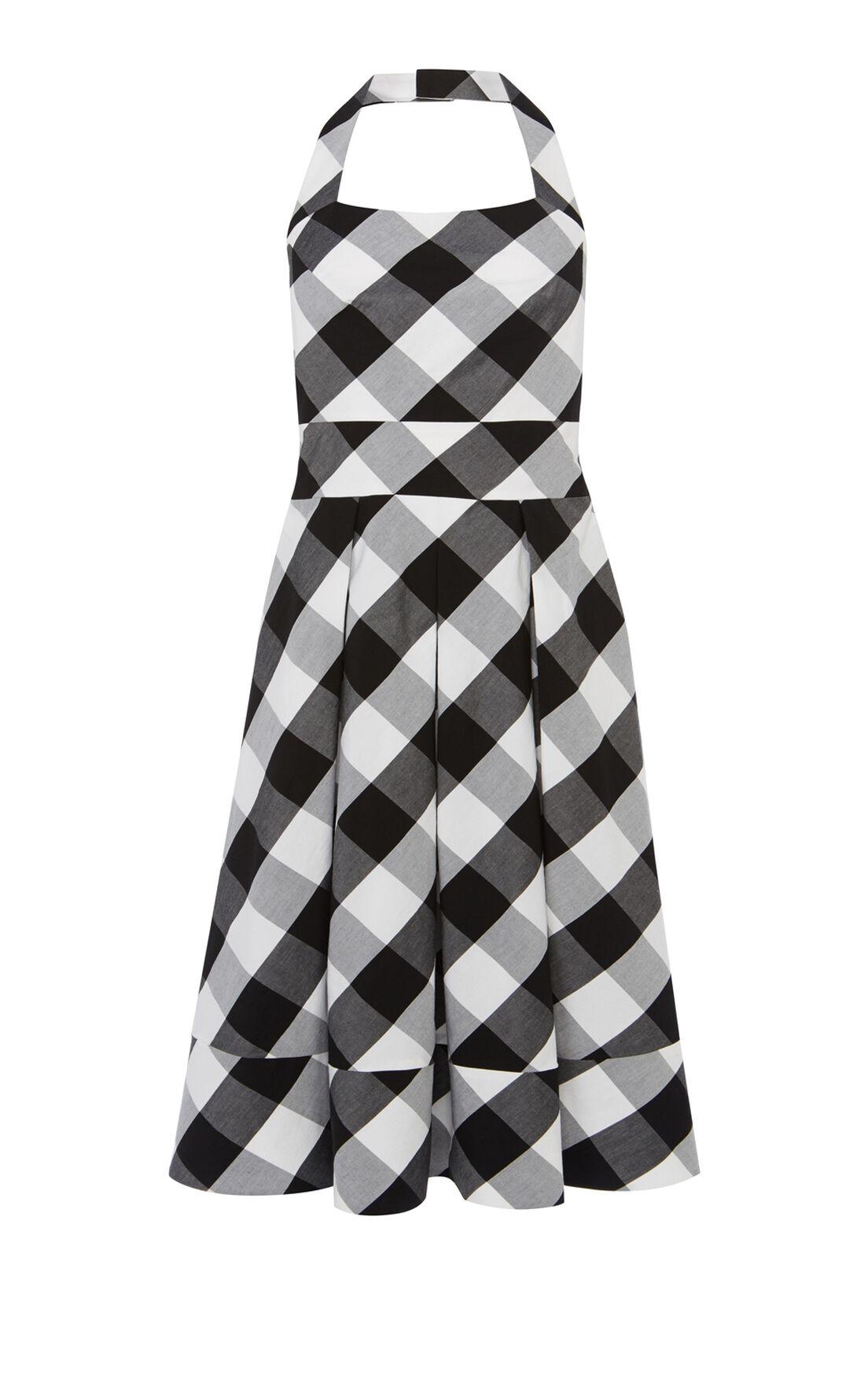 Karen Millen, Gingham full skirted dress Blk&Wht 0