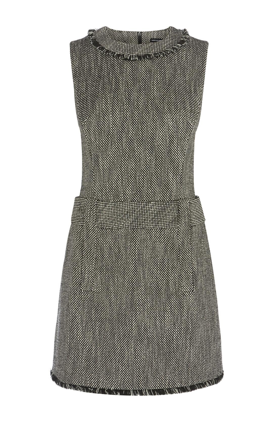 Karen Millen, TWEED DRESS Black/Multi 0