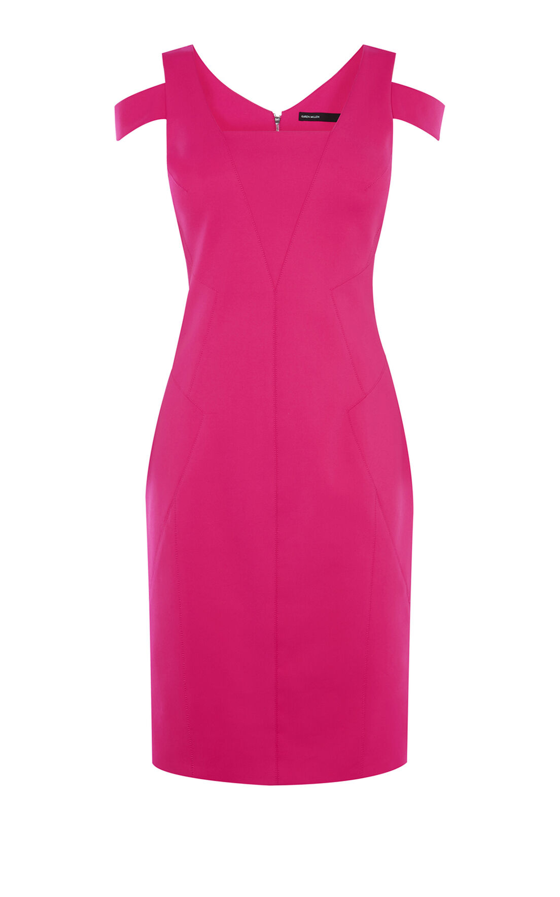 Karen Millen, COTTON PENCIL DRESS Pink 0